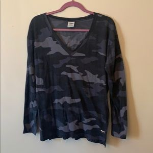 Pink Victoria's Secret camo long sleeve v neck tee